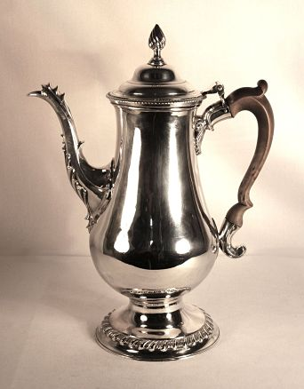 A silver George 111 coffee pot