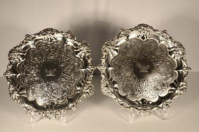 A pair of George 1V silver salvers