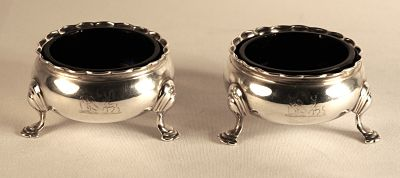 A pair of George 11 sterling silver salts