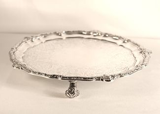 A Victorian antique silver salver