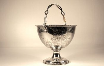 A Victorian silver swing handle sugar basket