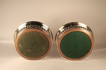A pair of George 111 silver wine coasters