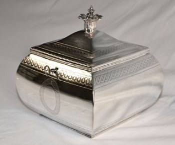 A George 111 antique silver tea caddy