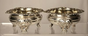 A pair of George 111 antique silver salt cellars