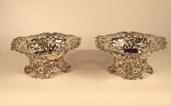 A pair of Victorian silver bon bon dishes