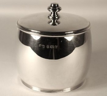 An art deco silver tea caddy