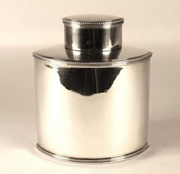 A silver Edwardian tea caddy