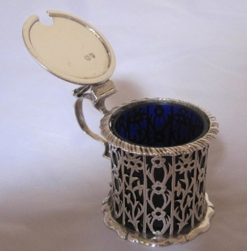 A Victorian antique silver mustard pot